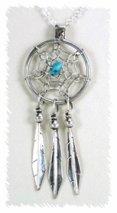 Native American Dreamcatcher Pendant Navajo Sterling Silver
