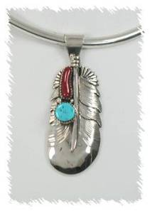 Navajo Sterling Silver Turquoise and Coral Pendant by Lester Craig