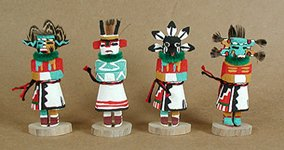 Hand carved and painted Navajo Kachinas with feather headresses