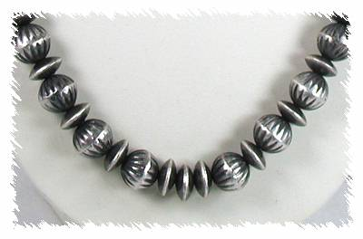 Antiqued Sterling Silver Beads by Virginia Tso, Navajo