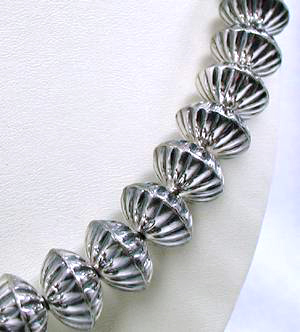 Fluted Sterling Silver Beads by Calvin Largo, Navajo