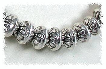 Navajo Sterling Silver Stamped Beads by Navajo Marie Yazzie