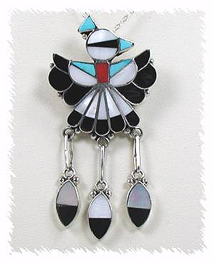 Zuni Inlay Thunderbird Pin Pendant by Randolph Lateyice
