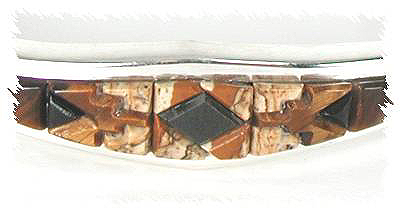 Fossilized coral inlay bracelet by Thomas Francisco, Navajo