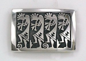 Hopi Sterling Silver Overlay Belt Buckle