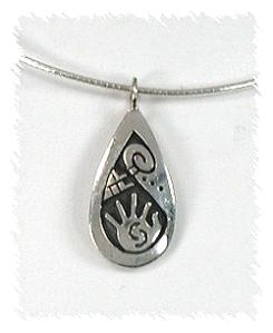 Hopi Sterling Silver Overlay Pendant