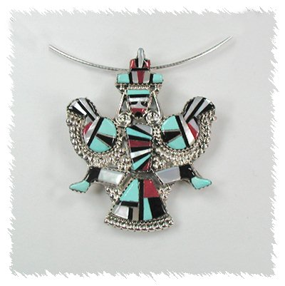 Knifewing Inlay Pin Pendant by Zuni artists Herbert and Ester Cellicion