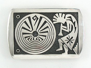 Hopi Kokopelli Overlay Belt Buckle by Joe Josytewa