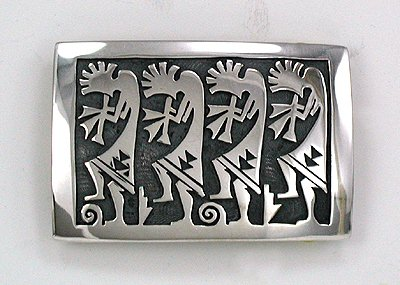Hopi Overlay Kokopelli Belt Buckle by Steven Sockyma