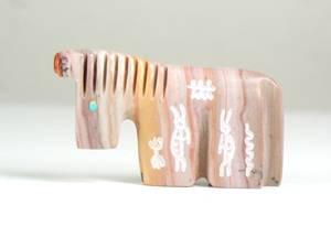 Zuni Horse Fetish with Kokopelli petroglyphs by Tyrone Poncho
