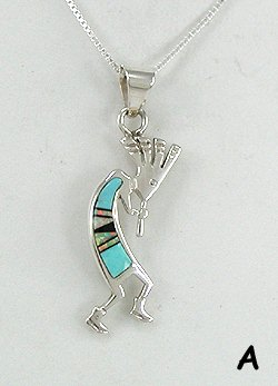 Navajo Kokopelli Inlay Pendant