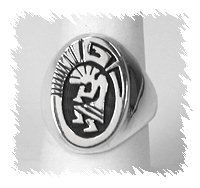 Navajo Overlay Kokopelli Ring by Calvin Peterson