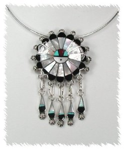 Mother of Pearl Zuni Inlay Sunface by Abel Soseeah