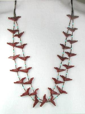 Pipestone Bird Fetish Necklace by Navajo Corrine Ramirez