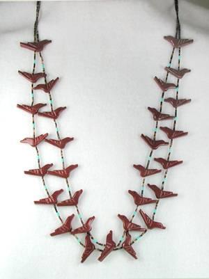 Pipestone Bird Fetish Necklace by Navajo Corrine Ramirez
