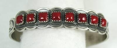 Coral bracelet by Navajo artist Wallace Yazzie Jr.