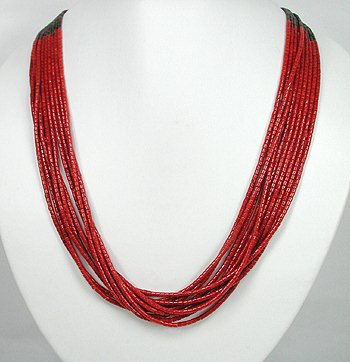 10 strand coral necklace by San Felipe artist Frank Ortiz
