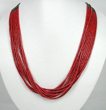 10 strand coral necklace by San Felipe artist Frank Ortiz