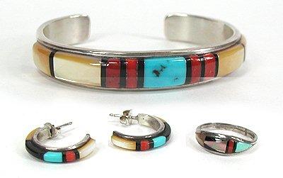 Vintage Inlay Bracelet by Zuni artist Paula Panteah