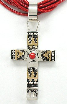 Gold and Silver Cross by Navajo artist Richard Singer