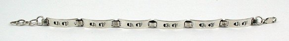 Sterling Silver Navajo Bear Paw Link Bracelet