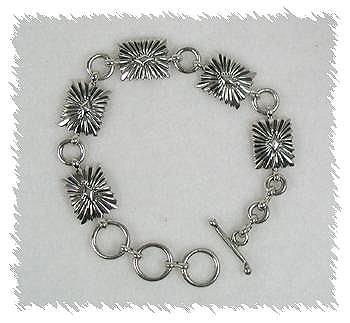 Sterling Silver Navajo Concho Link Bracelet