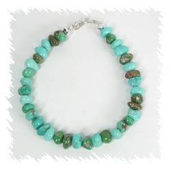 Navajo Kingman Turquoise Nugget Link Bracelet
