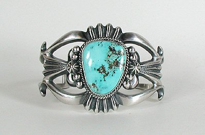Navajo Sterling Silver and Turquoise Sandcast Bracelet