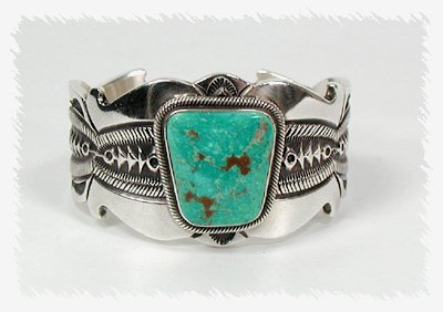 Navajo Sterling Silver and Easter Blue Turquoise Bracelet