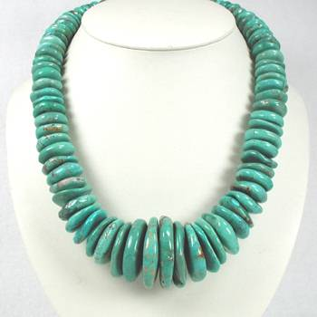249 gram vintage turquoise necklace strung with string !!