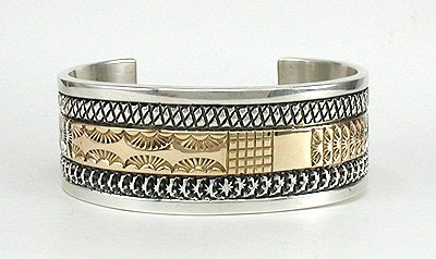 14K Gold and Sterling Silver Bracelet by Apache Marc Antia