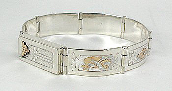 12K Gold Filled Storyteller Link Bracelet by Navajo Alonzo Mariano