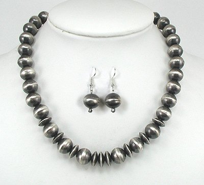 Antiqued Sterling Silver Navajo Beads by Virginia Tso