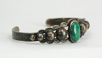 Vintage Sterling Silver and Turquoise Bargain Barn Bracelet