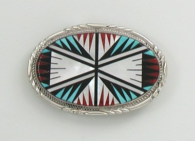 Authentic Zuni Inlay Belt Buckle by Leslie and Gladys Lamy