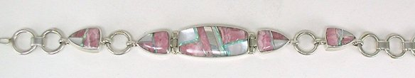 Rhodochrosite, Mother of Pearl, Opal and Sterling Silver Channel Inlay Braceley by Navajo Shirley Tso