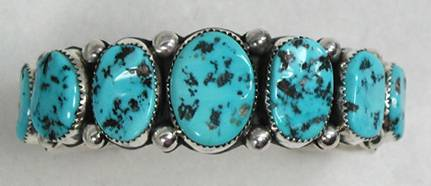 Sleeping Beauty Nugget Bracelet by Navajo Wilbur Muskett Jr.