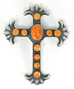Sterling Silver Navajo Spiny Oyster Cross