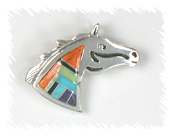 Navajo Sterling Silver Inlay Horse Head