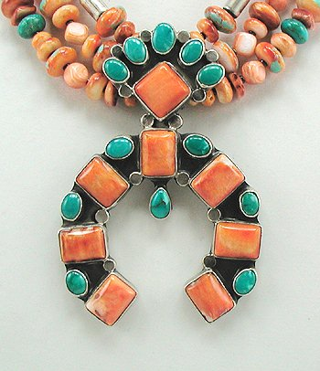 Spiny Oyster and Turquoise Naja with 3 Strand Necklace