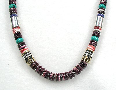 Purple Spiny Oyster Treasure Necklace by Navajo Tommy Singer