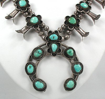 Example of a Vintage Navajo Squash Blossom Necklace