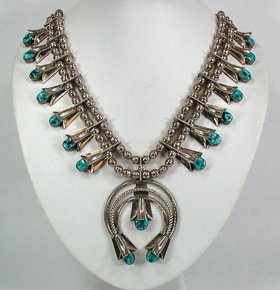"Vintage Squash Blossom Necklace with Hallmarks ""FY Sterling"""