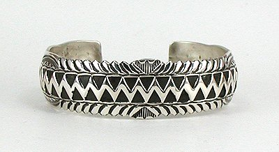 Navajo Sterling Silver Stamped Bracelet with Detailed Edging by Wilbert Benally