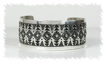 Detailed Stamped Sterling Silver Cuff by Navajo Silversmith Vincent Platero