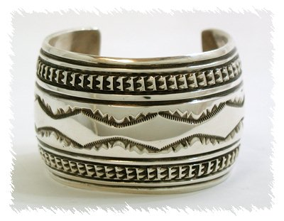 Sterling Silver Stamped Wide Cuff by Navajo Silversmith Ken Bill