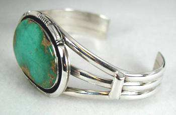 3-Wire Navajo Bracelet with Emerald Valley Turquoise Stone