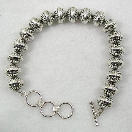 Sterling Silver Stamped Navajo Pearl Bracelet by Navajo Marie Yazzie