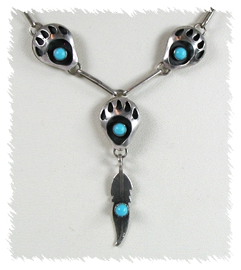 Native American Bear Paw Necklace with Pendant
