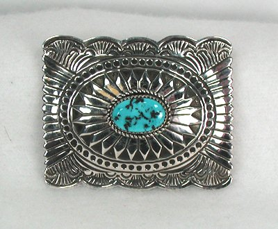 Navajo Sterling Silver and Turquoise Buckle by Wilbert Benally